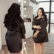 Черный атласный халат на ночь, размер 52-54, фото 2