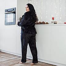 Черный домашний костюм из мраморного велюра на ночь, размер 52-54, фото 3