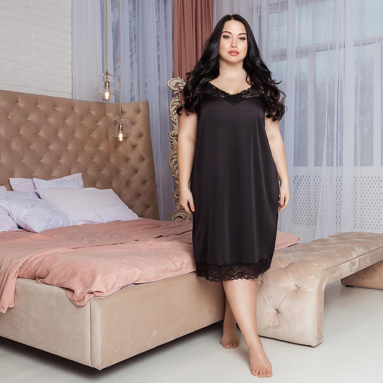 Черная шелковая сорочка на ночь, размер 52-54