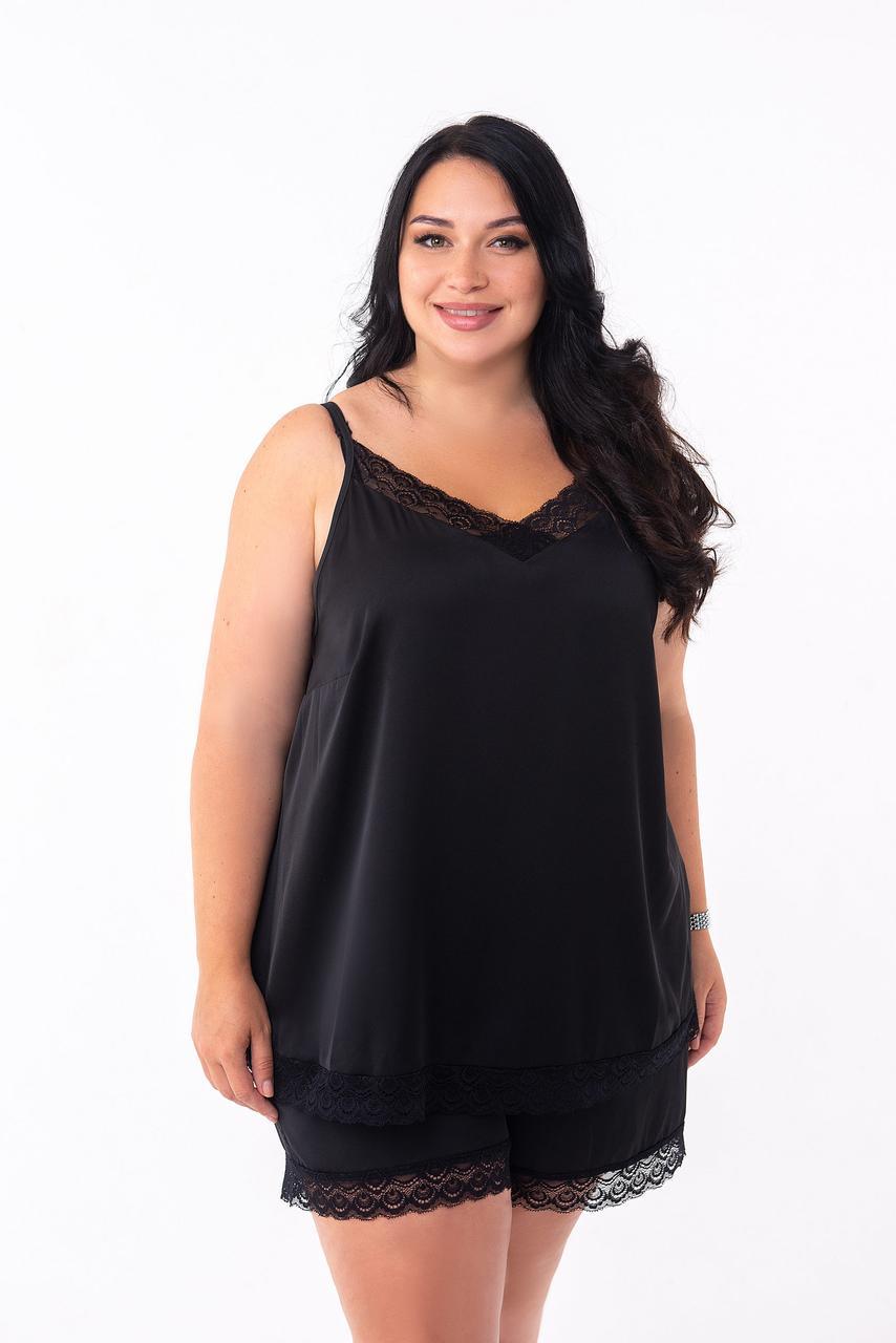 Черная пижама с черным кружевом на ночь, размер 48-50