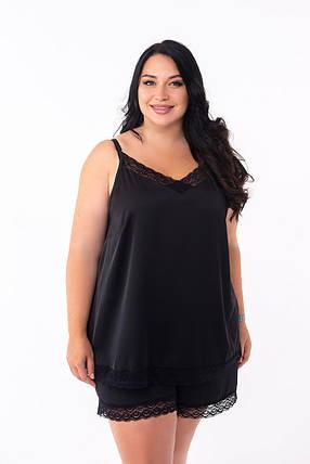 Черная пижама с черным кружевом на ночь, размер 48-50, фото 2