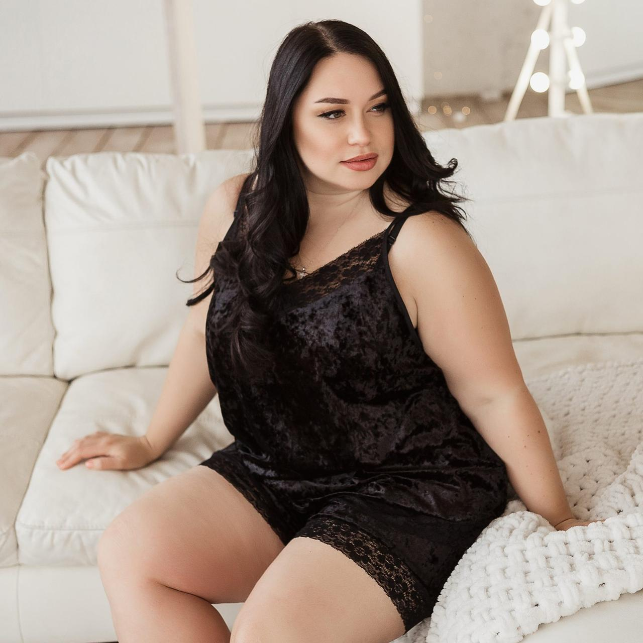 Черная пижама без кружева на маечке из мраморного велюра на ночь, размер 48-50