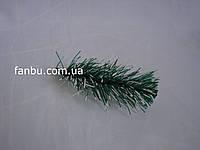 Ветка ели зеленая с белым,мягкий пластик(9-11 см)