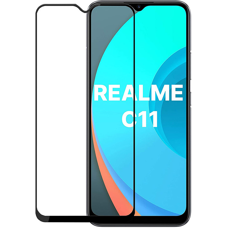 Защитное стекло Full screen PowerPlant для Realme C11, Black