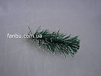 Ветка ели зеленая с белым ,мягкий пластик(14-16 см)