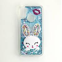 Чехол Glitter для Xiaomi Redmi S2 бампер жидкий блеск Заяц Синий