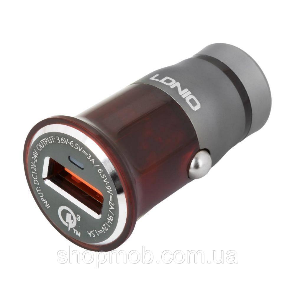 Авто Зарядное Устройство LDNIO DL-C304Q QC3.0 18W Lightning Цвет Серо-Красный