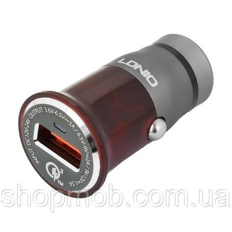 Авто Зарядное Устройство LDNIO DL-C304Q QC3.0 18W Lightning Цвет Серо-Красный, фото 2