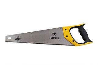 """Ножовка по дереву Topex - 500 мм 11T х 1"""", тройная заточка Shark (10A452), (Оригинал)"""