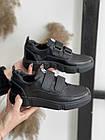 Подростковые кеды кожаные весна/осень черные Monster BAS на липучке (36,37,38,40),, фото 4