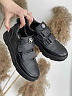 Подростковые кеды кожаные весна/осень черные Monster BAS на липучке (36,37,38,40),, фото 5