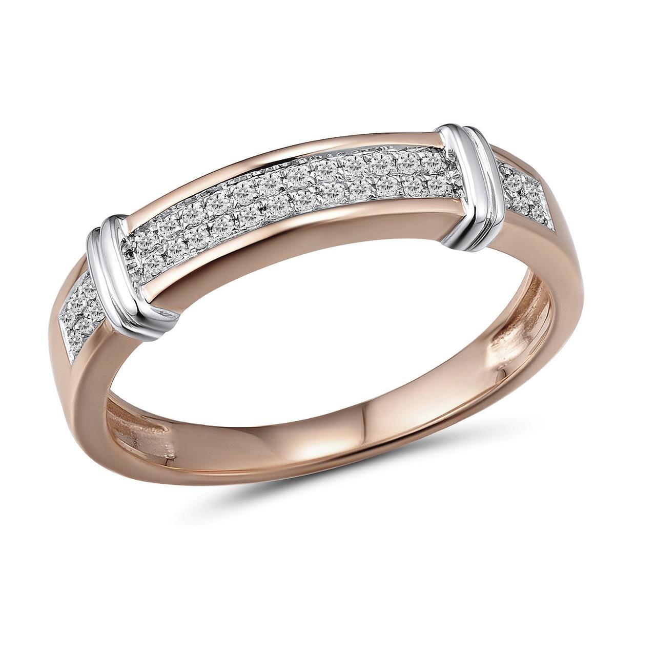Кольцо из красного золота с бриллиантами, размер 16.5 (1550731)