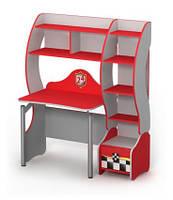 Письменный стол с полочками и надстройкой красный (синий)