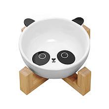 Миска для котів і собак керамічна Taotaopets 115505 Панда на дерев'яній підставці