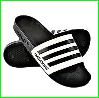 Мужские Шлёпанцы Тапочки ADIDAS Сланцы Адидас Чёрные с Белым (размеры: 40,41,42,43,44,45,46)