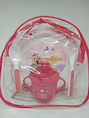 Детский набор посуды в рюкзаке для девочки
