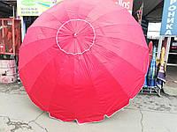 Зонт торговий круглий (3,5 м) з срібним напиленням иклапаном ЧЕРВОНИЙ