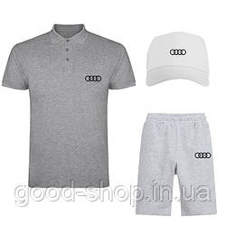 Мужской костюм тройка кепка поло и шорты Ауди (Audi), летний мужской костюм, копия