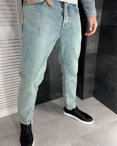Блакитні вільні чоловічі джинси топ якість Широкі джинси чоловічі