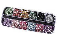 Стразы для дизайна ногтей 12 цветов