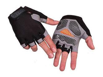 Перчатки велосипедные без пальцев Сетка, Черные, L
