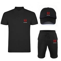 Мужской костюм тройка кепка поло и шорты Додж (Dodge), летний мужской костюм, копия