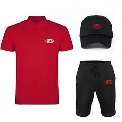 Мужской костюм тройка кепка поло и шорты Киа (Kia), летний мужской костюм, копия