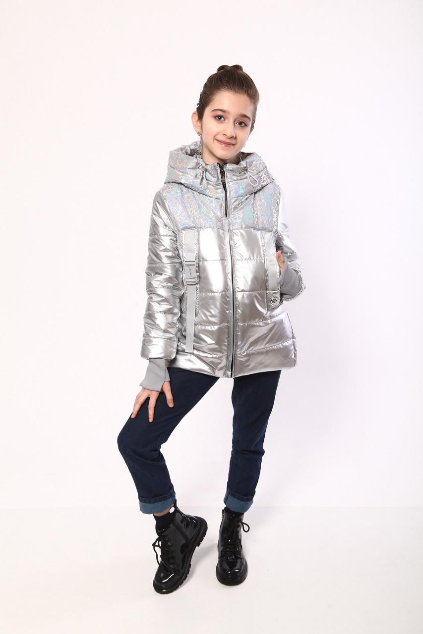 Демисезонная куртка для девочек 128-152 серый