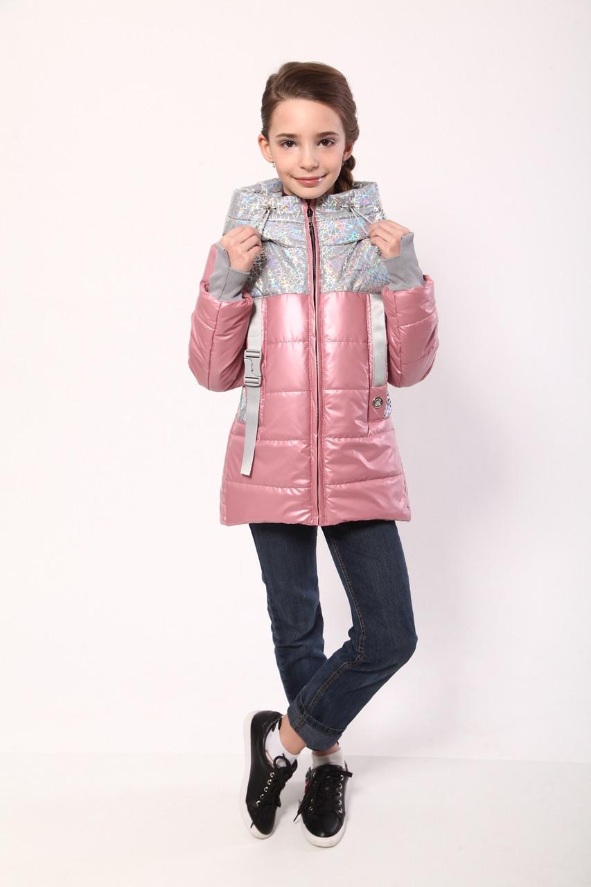Демисезонная куртка для девочек рост 146розовый