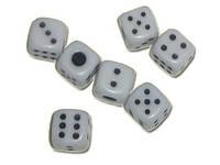 Кубик игральный белый. В упаковке 100 шт. №8
