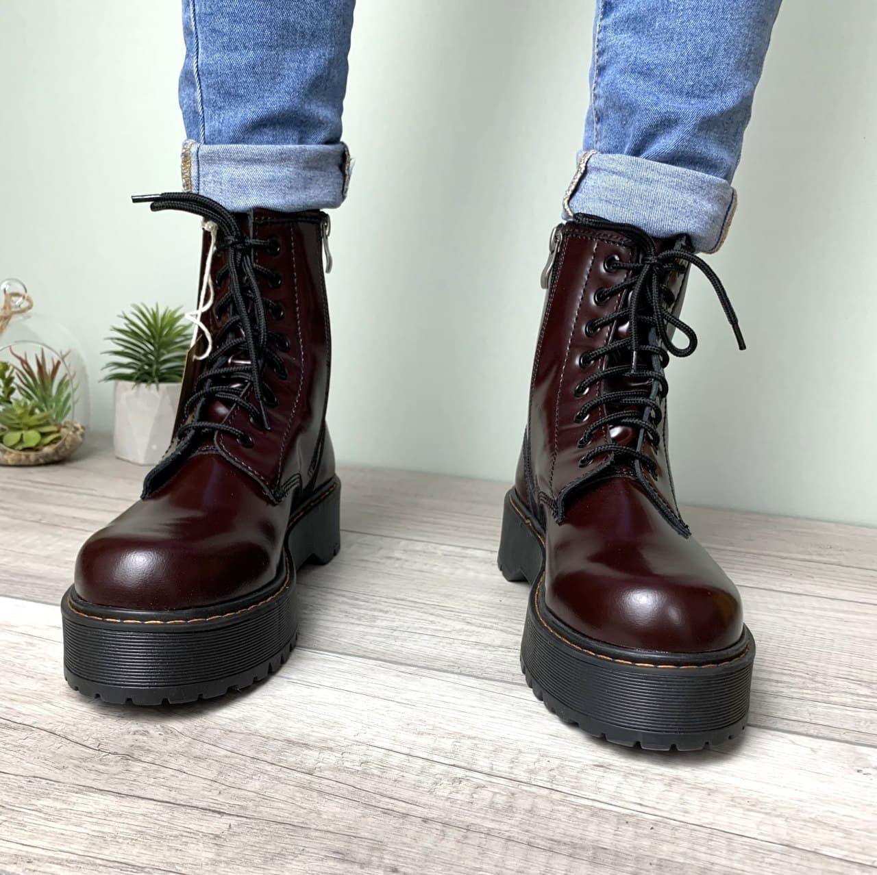 Жіночі демісезонні черевики Dr. Martens Jadon (бордові) легка стильне взуття К12329