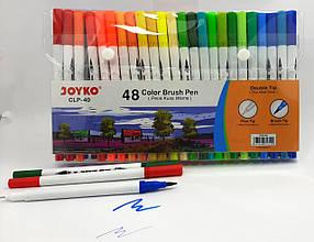 Фломастеры Joyko, двухсторонние, кисточка-лайнер, 48 цветов, 40-CLP