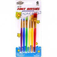 Набор кисточек 6 шт «Нейлон цветные пластик» BLK-106