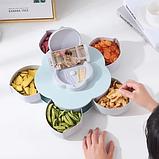 Вращающаяся тарелка для закусок фруктов и сладкого, менажница в виде цветка на 5 секций,одноярусная, фото 2