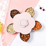 Вращающаяся тарелка для закусок фруктов и сладкого, менажница в виде цветка на 5 секций,одноярусная, фото 4