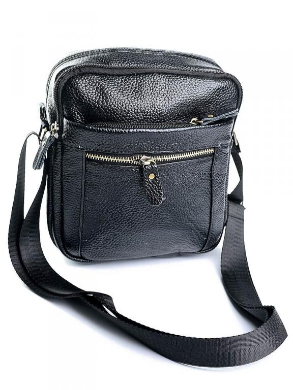 Мужская кожаная сумка через плечо небольшая черная 2333 черная