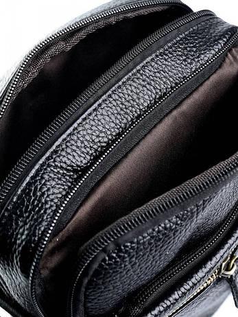 Мужская кожаная сумка через плечо небольшая черная 2333 черная, фото 2
