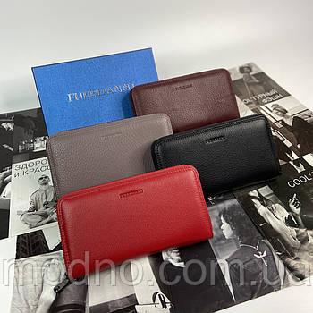 Женский кожаный кошелёк портмоне на молнии 4 цвета FUERDANNI