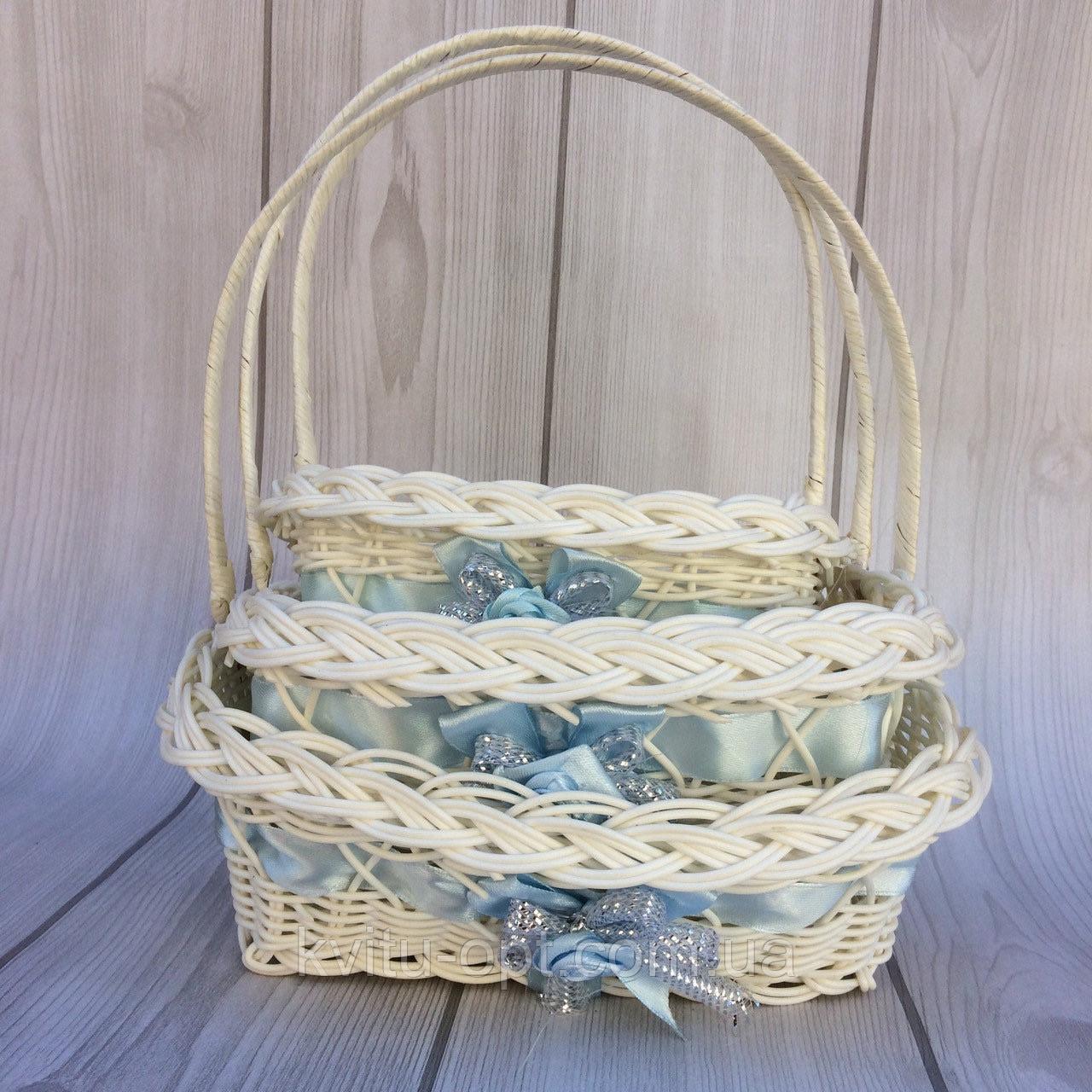 Корзина белая с голубой лентой  плетеная для композиции комплект 3  шт.