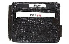 Зажим для купюр кожаный мужской черный с отделами для карт Karya 0963 - 53