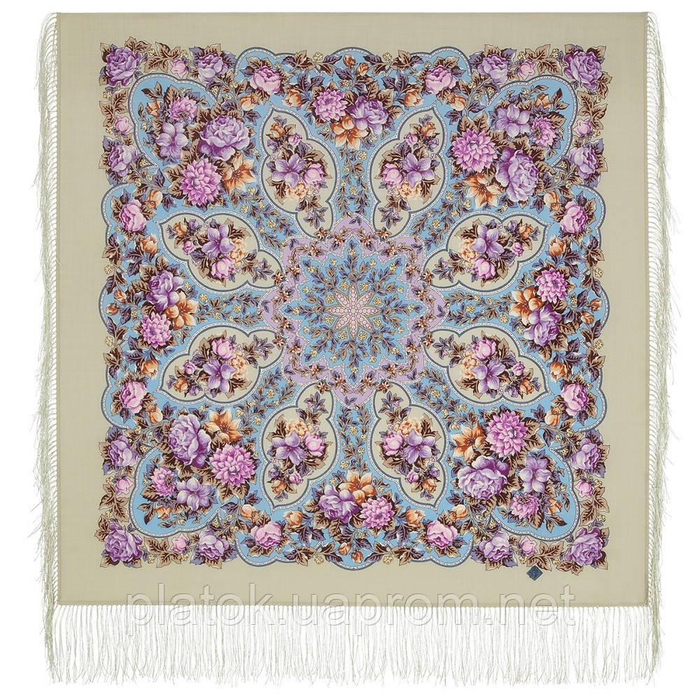 Восходящее солнце 1920-9, павлопосадский платок шерстяной с шелковой бахромой