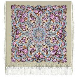 Гуслицкий край 1927-2, павлопосадский платок шерстяной  с шелковой бахромой