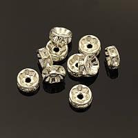 Рондель со стразами D6мм цвет: серебро, пара