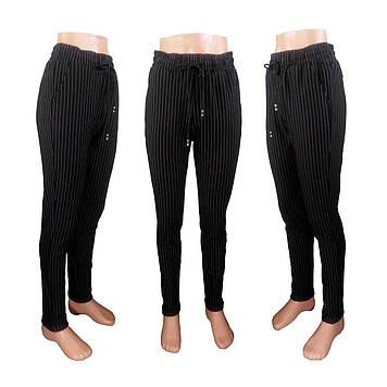Модные женские леггинсы - брюки, в полоску на резинке и на шнуровке, офисного стиля.