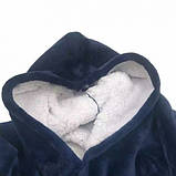 Двостороння толстовка (плед) - халат з капюшоном Huggle Hoodie синя плед з рукавами плюшева кофта, фото 4