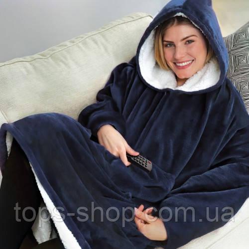 Двостороння толстовка (плед) - халат з капюшоном Huggle Hoodie синя плед з рукавами плюшева кофта