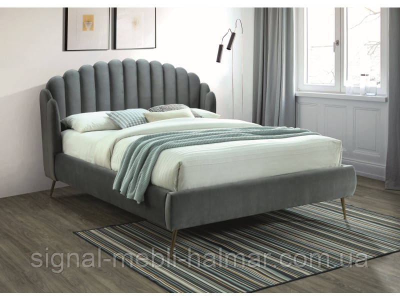 Ліжко CALABRIA VELVET 160x200 сірий(Signal)