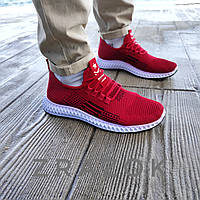 Летние кроссовки красные мужские текстильные сетка в стиле adidas yeezy boost red