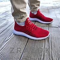 РАЗМЕРЫ: 42 43 летние кроссовки красные мужские текстильные сетка в стиле adidas yeezy boost red
