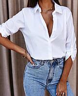 Рубашка женская коттоновая классическая с длинным рукавом. Размеры: 42-44, 46-48. Цвет: белый, голубой.